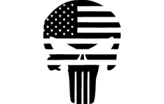 punisher flag superhero silhouette Free Dxf File for CNC