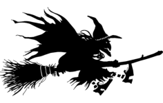 witch flying on broom silhouette Free Dxf File for CNC
