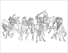 four horsemen Free Dxf File for CNC