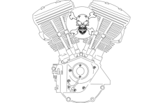 v-twin engine Free Dxf File for CNC