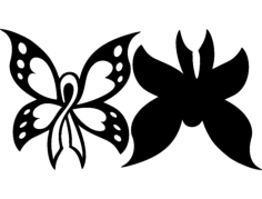 cancer butterfly 2pc 12×12 Free Dxf File for CNC