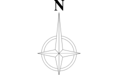 north arrow symbol Free Dxf File for CNC