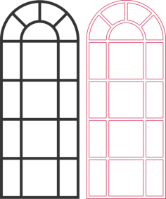 arched window vector Free Dxf File for CNC