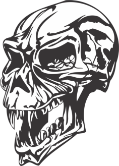 angry skull Free Dxf File for CNC