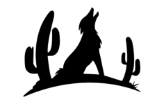 coyote with cactus silhouette Free Dxf File for CNC