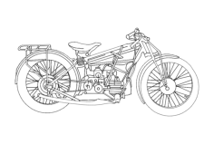 motorcycle old Free Dxf File for CNC