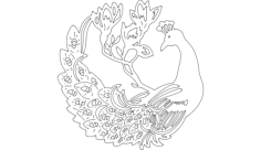 work peacock Free Dxf File for CNC