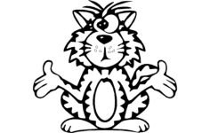 cat cross eyed Free Dxf File for CNC