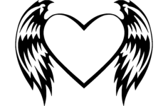 heart with wings Free Dxf File for CNC
