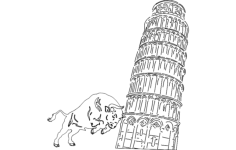 pisa tower Free Dxf File for CNC