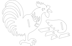 rooster 3d Free Dxf File for CNC