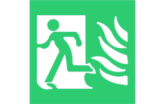 high safety fire exit symbol with flames left sign Free Dxf File for CNC