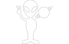 alien with planet Free Dxf File for CNC