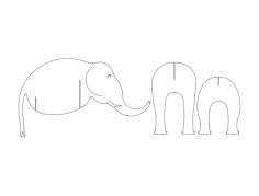 elephant 3 pc Free Dxf File for CNC