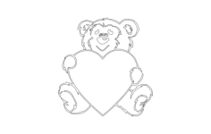 bear and heart Free Dxf File for CNC