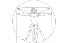 davinci vitruvian lineart Free Dxf File for CNC