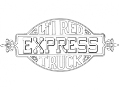 lil red express truck decal Free Dxf File for CNC