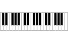 piano keyboard silhouette Free Dxf File for CNC