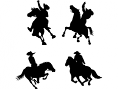 cowboy on horse silhouettes Free Dxf File for CNC