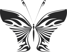 butterfly vector art illustration Free Dxf File for CNC