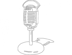 old fashion radio microphone hg wht Free Dxf File for CNC