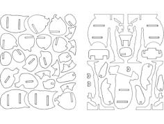 koala 3d puzzle Free Dxf File for CNC