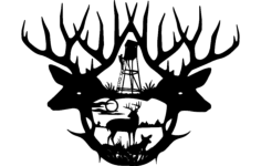 2 deer antlers Free Dxf File for CNC