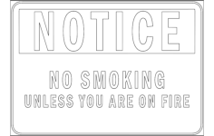 notice no smoking Free Dxf File for CNC