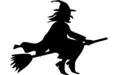 silhouette witch flying on broomstick Free Dxf File for CNC