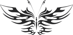 tattoo tribal butterfly vector art Free Dxf File for CNC