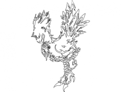 drawing dragon Free Dxf File for CNC