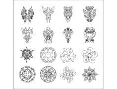 tattoo vector set 3 Free Dxf File for CNC