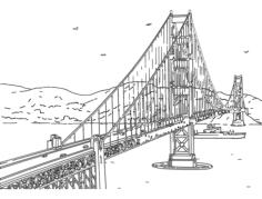 golden gate bridge Free Dxf File for CNC