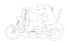 two people on motorbike Free Dxf File for CNC
