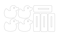 duck family targets Free Dxf File for CNC