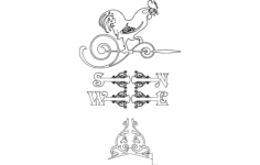 weather vane victorian rooster Free Dxf File for CNC