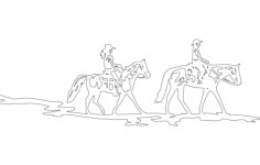 horse and riders Free Dxf File for CNC