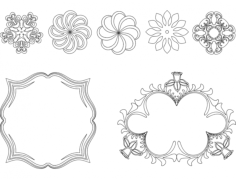frame and flowers Free Dxf File for CNC
