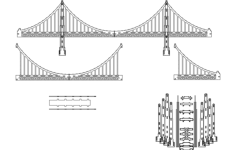 golden gate 3d model Free Dxf File for CNC