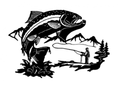 fish fisherman Free Dxf File for CNC