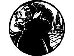 bella e la bestia clock Free Dxf File for CNC