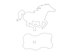 mustang 3d horse Free Dxf File for CNC