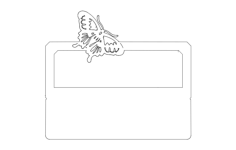 desk nameplate with butterfly Free Dxf File for CNC