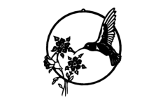 hummingbird with flowers Free Dxf File for CNC