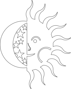 sun and moon Free Dxf File for CNC