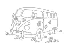 flower power vw camper van Free Dxf File for CNC