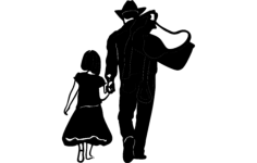 cow boy daughter Free Dxf File for CNC