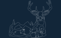 deer scene best Free Dxf File for CNC