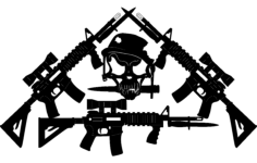 jared's ar-15's crossed-with skull Free Dxf File for CNC