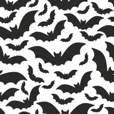 halloween pattern with bats vector art Free Dxf File for CNC
